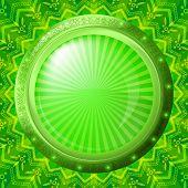 Ojo de buey de vidrio en fondo verde