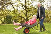 stock photo of senior men  - Senior Couple Man Giving Woman Ride In Wheelbarrow - JPG