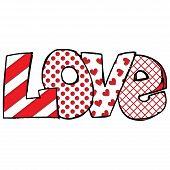 Inscription love For Valentines Day. Love Lettering. Romantic Handwritten  Love. Hand Drawn Letter poster