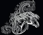 Vector Hand Drawing Illustration Zentangle Horse In White Color Isolated On Black Background. Doodle poster