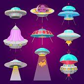 Alien Spaceships, Set Of Ufo Unidentified Flying Object, Fantastic Rockets, Cosmic Spacecrafts In Un poster