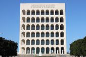 stock photo of mussolini  - The Squared Colosseum building in Rome - JPG