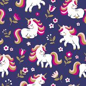 Hand Drawn Seamless Vector Pattern With Cute Baby Unicorns And Flowers On Dark Blue Background. Perf poster
