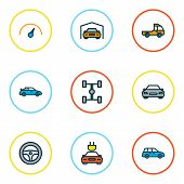 Automobile Icons Colored Line Set With Garage, Wheelbase, Steering Wheel And Other Sedan  Elements.  poster