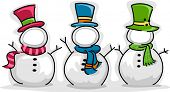 Illustration of Snowman with Customizable Faces