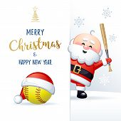Merry Christmas And Happy New Year. Sports Greeting Card. Cute Santa Claus With Softball Ball And Ba poster