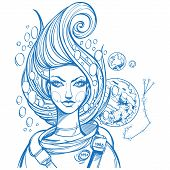 Portrait Of The Girl Symbolizes The Zodiac Sign Scorpio. Outline Drawing For Coloring. poster