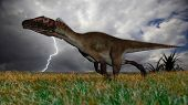 utahraptor in field during storm