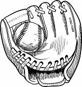 stock photo of umpire  - Doodle style baseball and glove in vector format - JPG
