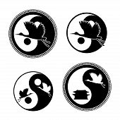 Yin Yang Symbol with flying cranes