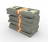 stock photo of ten thousand dollars  - Stack of ten thousand dollar bills - JPG