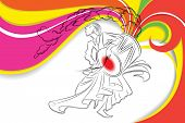 picture of dhol  - illustration of drummer playing dhol in Durga Puja - JPG