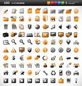 new set of 100 glossy web icons, 5 color variations included, best for mobile apps, websites,