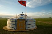 Mongolian Ger With Flag