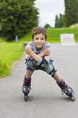 Portrait Of Smiling Rollerskater In Protection Kit