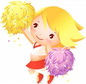 stock photo of pom poms  - The girl cheerleader is wearing uniforms holding pom - JPG