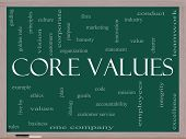 stock photo of honesty  - Core Values Word Cloud Concept on a Blackboard with great terms such as mission statement ethics vision code and more - JPG
