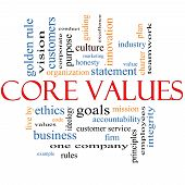 stock photo of honesty  - Core Values Word Cloud Concept with great terms such as mission statement ethics vision code and more - JPG