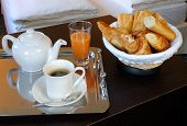image of french pastry  - a french breakfast served into a hotel bedroom at Paris