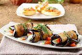 Eggplant Rolls With Cheese, Tomato And Basil