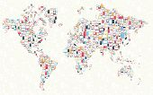 Gadgets Icons World Map Illustration