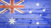 Wood Texture Background With Colors Of The Flag Of Australia