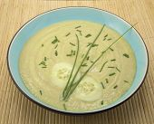 Cucumber And Avocado Soup On Bamboo Placemat