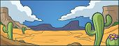 Cartoon desert background. Vector clip art illustration with simple gradients. All in a single layer.