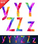 Colorful font of patches. Vector illustration. Letters y z