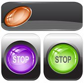 Stop. Internet buttons. Raster illustration. Vector version is in my portfolio.