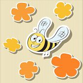 Set of Elements: Flower-shaped Paper Tags and Cartoon Bee