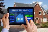 Holding a smart energy controller or remote home control online home automation system on a digital
