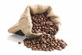 Coffee Beans In Brown Bag.