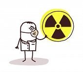 scientist with mask and radioactivity