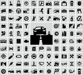 picture of steers  - Vector auto icons set - JPG