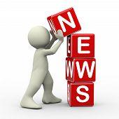 3D Man Placing News Cubes
