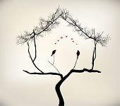 foto of freaky  - birds and tree two lovers happy living - JPG