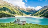 Spectacular Scenic Big Almaty Lake, Tien Shan Mountains In Almaty, Kazakhstan,asia At Summer
