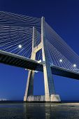 Vertical View Of Vasco Da Gama Bridge By Night
