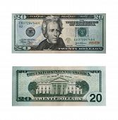 image of twenty dollar bill  - both sides of the twenty dollar bill isolated on white with clipping path  - JPG