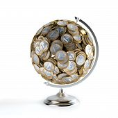 The Coins Globe (Money Conceptual Picture)  Isolated On white
