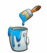 Cartoon Blue Color Paint In A Paint Bucket Painting With Paint Brush