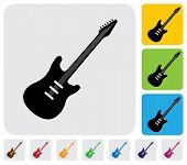 Simple Electric Guitar Symbol(icon)-minimalistic Vector Graphic