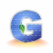 solar panels texture, alphabet capital letter G icon or symbol