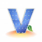 textura de paneles solares, alfabeto mayúscula V icono o símbolo