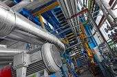 image of thermal  - Large industrial pipes in a thermal power plant - JPG