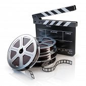 Film Reels and Clapper board - video icon