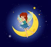 Illustration of a fairy near the moon