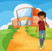 Illustration of a man going home from school