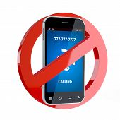 picture of restriction  - 3d render of no cell phone sign isolated on white background - JPG